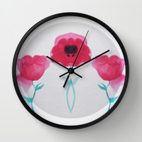 Mirrored Asian Poppy Wall Clock by DuckyB (Brandi)
