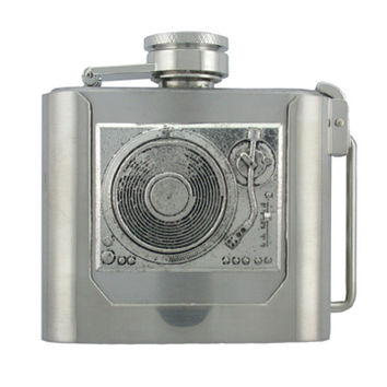 Silver DJ Turntable Record Player Removable Flask Belt Buckle