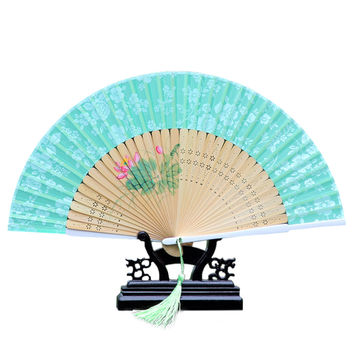 Cotton Cloth Folding Fan Woman      green