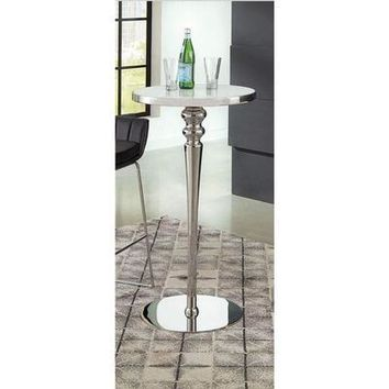 Coaster Furniture Round 182031 Bar Table STAINLESS STEEL/ WHITE