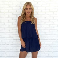 Sleek & Shine Romper in Navy Blue