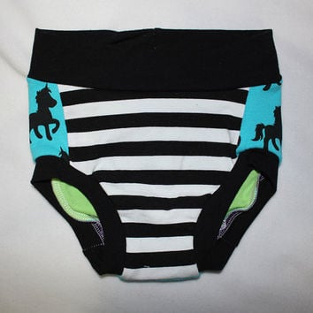Blue Unicorns Baby Toddler Infant's Underwear Handmade Undies In stock Size 12 mos - 2T Only