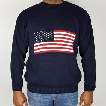 SALE L Vintage 90s Pullover Sweater / USA American Flag Sweater / Patriotic Mens Sweater