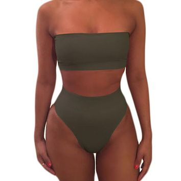 Almostlover1209 Swimwear Women High Waist Bikini Swimsuit Solid Bikini Set Maillot De Bain Femme 2018 Hot Bathing Suit Olive Top