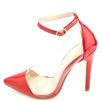 Red Ankle Strap Lucite Pointed Cap-Toe Pumps by Charlotte Russe