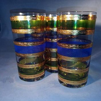 CULVER SIGNED GLASSES ~ RONDO BLUE HIGHBALL TUMBLERS 22K GOLD STRIPES