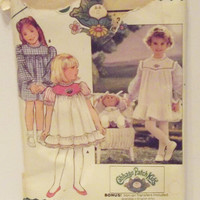 Vintage Butterick 3086 Cabbage Patch Kids Sewing Pattern Doll and Girls Dress Pinafore and Transfer Size 2 3 4