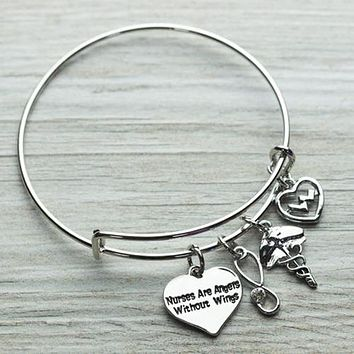 Nurse Are Angels Without Wings Bracelet