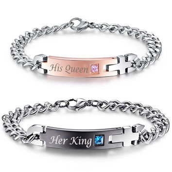 His Queen  Her King  Couple Stainless Steel Bracelets