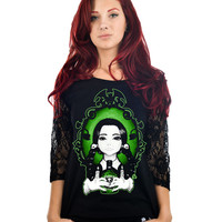 Poison Wednesday Raglan Lace T-shirt