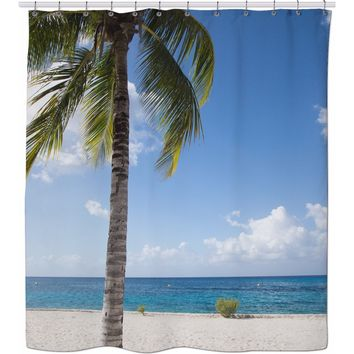 ROSC Cozumel Palm Tree Shower Curtain