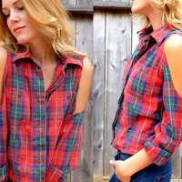 VTG 90s Cutout Shoulder Red Green Plaid Country Liz Claiborne Blouse size xs- medium