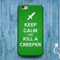 iPhone 4 4s 5 5s 5c 6 6s plus + iPod Touch 4th 5th 6th Gen Cover Keep Calm Kill a Creeper Green Video Game Computer Cute Quote Phone Case