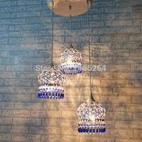Bohemian Chandelier in Bohemian Blue Crystal Drop Lights, 3 Lights on a single flush mount base in White + Blue Crystal. Gorgeous