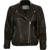 River Island Womens Black leather-look fringed biker jacket
