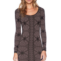 Black & Brown Floral Printed Long Sleeve Bodycon Dress