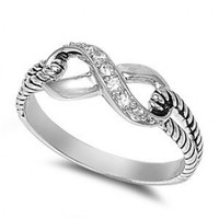 Sterling Silver Infinity Rope Ring with Clear Cubic Zirconia Stones - size 6