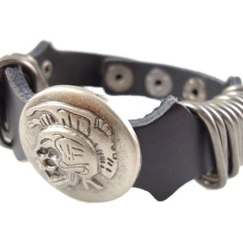 """""""The Beautiful People"""" Punk Vintage Genuine Leather Bracelet With Skull and metal tabs (ba008)"""