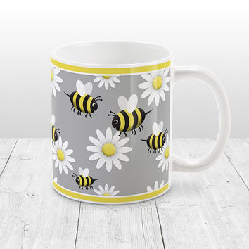 Happy Bee and Daisy Mug - Cute Yellow Happy Bee And White Daisy Pattern Over Gray - 11oz or 15oz Bee Mug - Made to Order