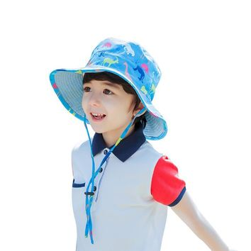 Vbiger Kids Bucket Hat Reversible Cartoon Beach Cjildren Bucket Cap Foldable Sun Cap Adorable Outdoor Sun Hat