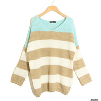 Stripe Matching Color Loose Long Sleeve Sweater