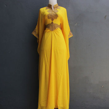 Bridesmaid Wedding Dress, Fancy Yellow Kaftan Dress, Long dress formal, Dubai kaftan dress, Summer Party Dress, Moroccan Maxi kaftan dress