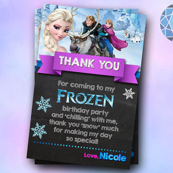 Elsa and Anna Frozen Thank You Party Design For Digital File, Birthday Invitation by SaphireInvitations