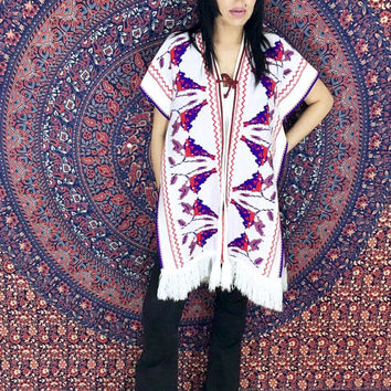 Vintage 70s Cream Tribal Print Fringed Bohemian Sweater Vest Poncho One Size Fits Most