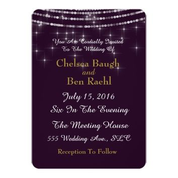 Chic Sparkle String Lights On Purple Wedding Card