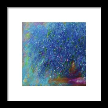 Blue Flowers Abstract - Framed Print