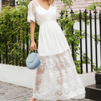 Spring and summer new sexy white perspective lace stitching dress long skirt female