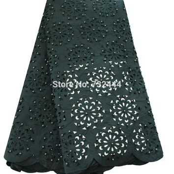 Hot selling laser cut lace fabric beaded african lace  for aso ebi wedding dress