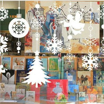 Snowflake Angel Christmas Tree Removable wall sticker Decals Window Decor White