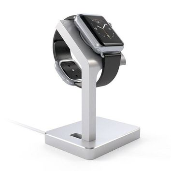 DCK4S2 Satechi Apple Watch Series 1, 2 and 3 Stand, Aluminum Charging Dock Stand Station iWatch Charger Bracket with Comfortable Viewing Angle for Apple Watch 42mm & 38mm (Silver)
