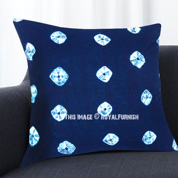 Dark Blue and White Medallion Circles Shibori Indigo Throw Pillow Cover 16X16 Inch on RoyalFurnish.com