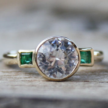 White Sapphire and Emerald 3-Stone Engagement Ring in 14K Gold