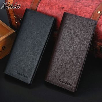 Man Wallet Leather Concise Money Bag Huge Capacity Thin Coin Purse Coin Card Holder Fashion 2018 Male Long Handbags High Quality