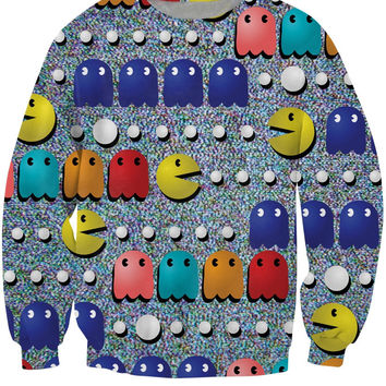 PacMan Crewneck Sweatshirt 80s classic arcade game icon emoji 3d Pull Sweat Women Fashion Clothing Men Sport Tops Jumper Jogging