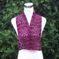 Women's hand knitted luxury hand dyed cashmere short lacy scarf. OOAK. Red shades.