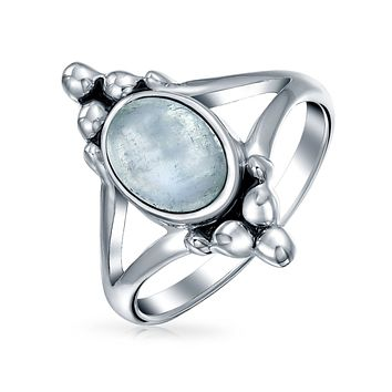 Oval Rainbow Gemstone Moonstone Ring Shank Band 925 Sterling Silver
