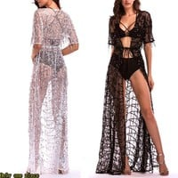 New Short Sleeve Perspective Sequined Dresses for Hot Selling Women's Dresses