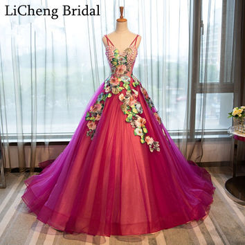 Elegent V-neck floral appliques prom dress vestido de festa Spaghetti Strap prom Gowns robe de soiree Long Prom Dresses 2017