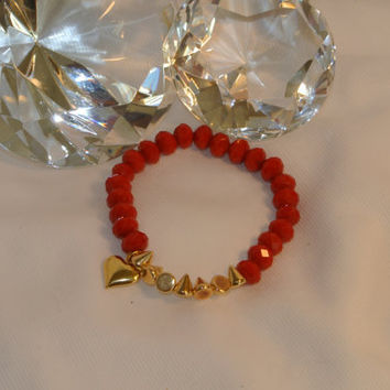 Golden Heart of Love - Stunning Red Czech Beads