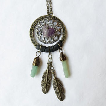 Small Dream Catcher Necklace with Amethyst, Dream Catcher Necklace, Dreamcatcher Necklace, Festival Jewelry, Gypsy Necklace, OOAK, Small