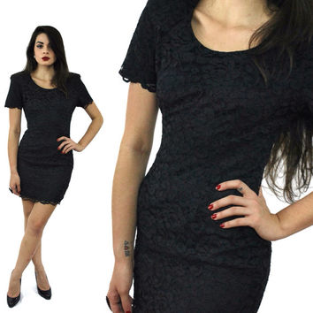 Vintage 80s MY MICHELLE Lace Black Goth Dress Sz 7