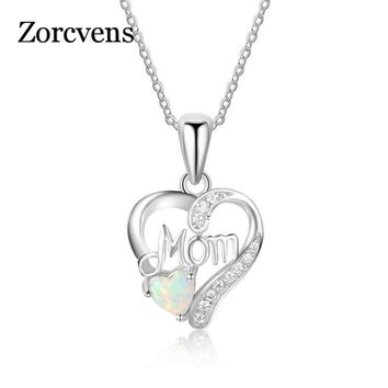 ZORCVENS Love Mom Gift Great Mama Opal Heart Pendant Necklace Silver Color Jewelry mother day gift For Mother MUM Letters