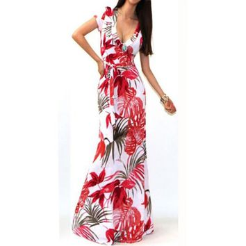 Long floral print boho maxi dress with short sleeves