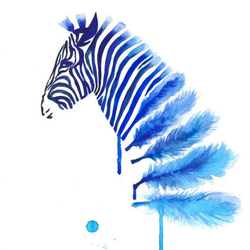 Blue Zebra Art Print A3, Large Wall Art Home Decor, Feather Art, Modern art, Zebra Feather Watercolor