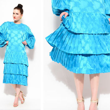 80s Blue Silk David Hayes Floral Tiered Accordion Pleated Flapper Poet Sleeve Party Cocktail Dress M