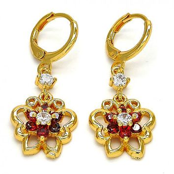 Gold Layered 02.206.0029 Long Earring, Butterfly and Flower Design, with Garnet and White Cubic Zirconia, Polished Finish, Golden Tone